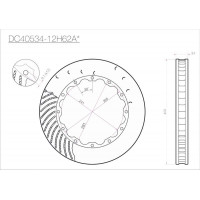 Ротор составного тормозного диска DC Brakes DC40534-12H62AL, 405*34mm, H крепеж, лев. (Brembo, JBT)