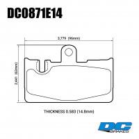 Колодки тормозные DC0871E14 DC Brakes RT.2 задние Toyota Celsior 4.3 UCF3; Lexus LS430 UCF30