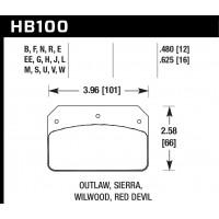 Колодки тормозные HB100W.480 HAWK DTC-30 ALCON PNF0084X284 / WILWOOD Dynalite