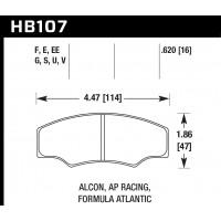 Колодки тормозные HB107E.620 HAWK Blue 9012 ALCON H type / AP RACING
