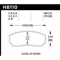 Колодки тормозные HB110F.654 HAWK HPS Proma 4 поршн. ТМ2.334, ТМ2.332, ТМ2.316, AP Racing, Rotora