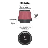 Фильтр нулевого сопротивления универсальный K&N RU-1014 Air Filter