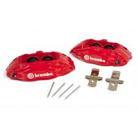 Комплект суппортов 2 шт. Brembo 4 поршня + адаптеры + армированные торм. шланги (2 шт) КРАСНЫЕ