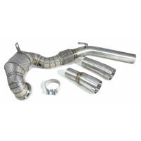 Приемная труба (даунпайп) VW-DP-0223 BlackRock Lab VAG 1.8, 2.0 TSI MQB передний привод, термоэкран